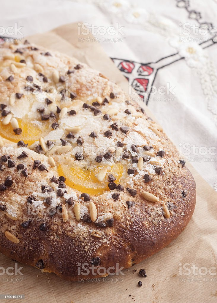 Traditional Catalan chocolate and candied orange brioche stock photo