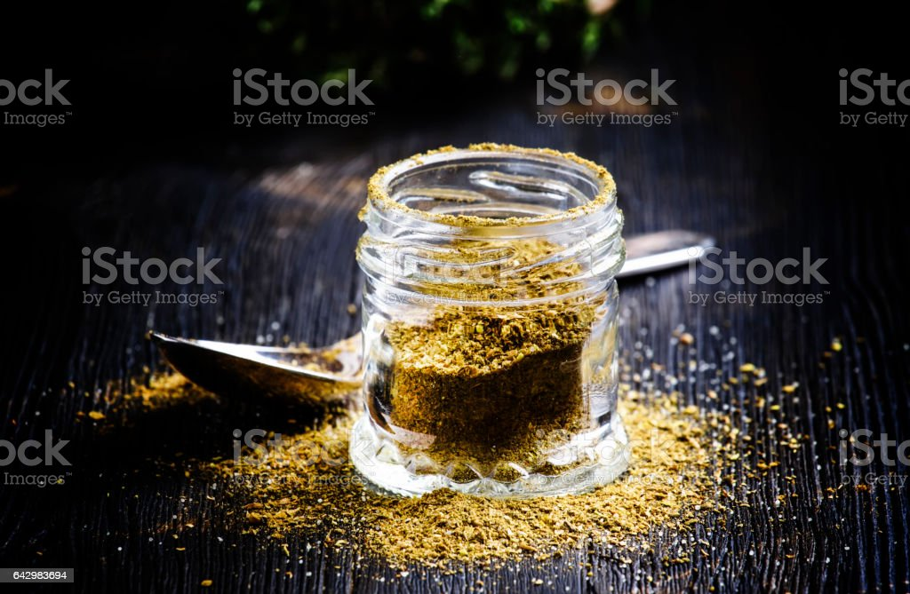 Traditional Caucasian seasoning with herbs and spices, khmeli suneli stock photo