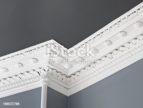 Close up of a traditional, intricate Georgian cornice moulding on the interior of an Edinburgh flat.