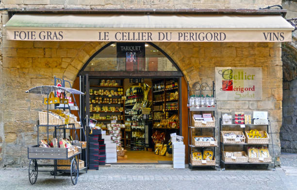 Traditional cellar in Sarlat, France stock photo