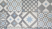 Traditional ceramic mosaic tile seamless pattern grey and white azulejo