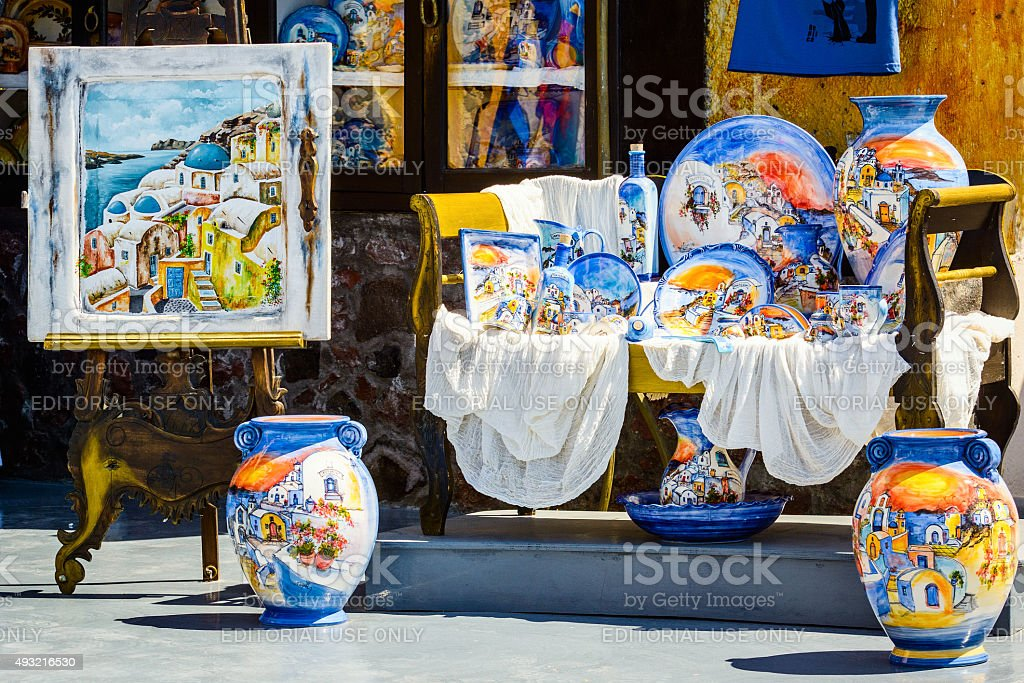 Traditional ceramic souvenirs in Oia town of santoriny island stock photo