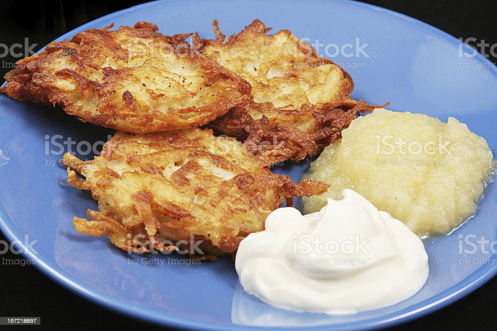 Traditional Chanukah Potato Latkes stock photo