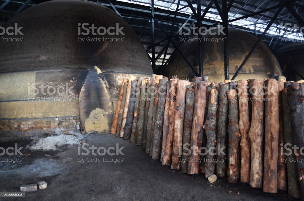 Traditional Charcoal factory stock photo