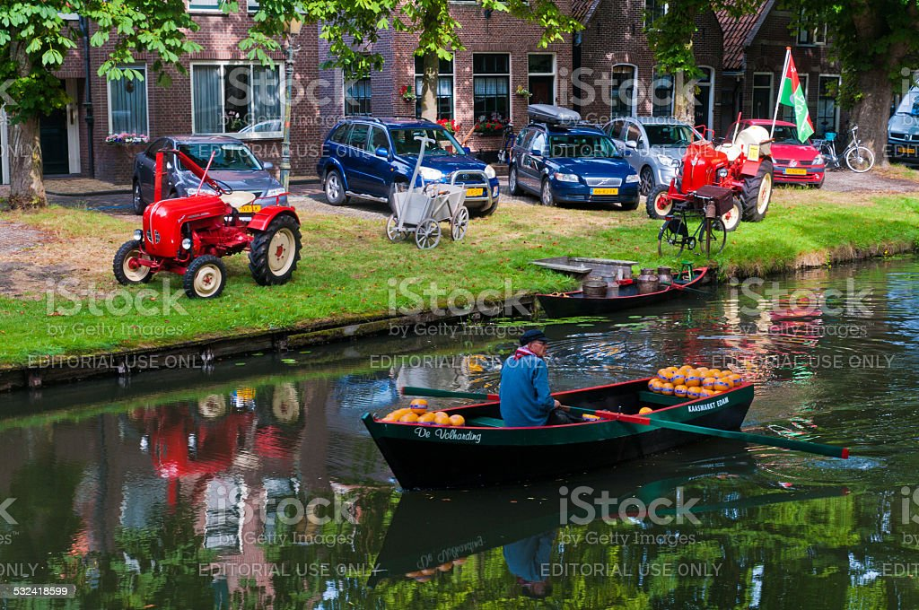 Traditional cheese market in Edam stock photo