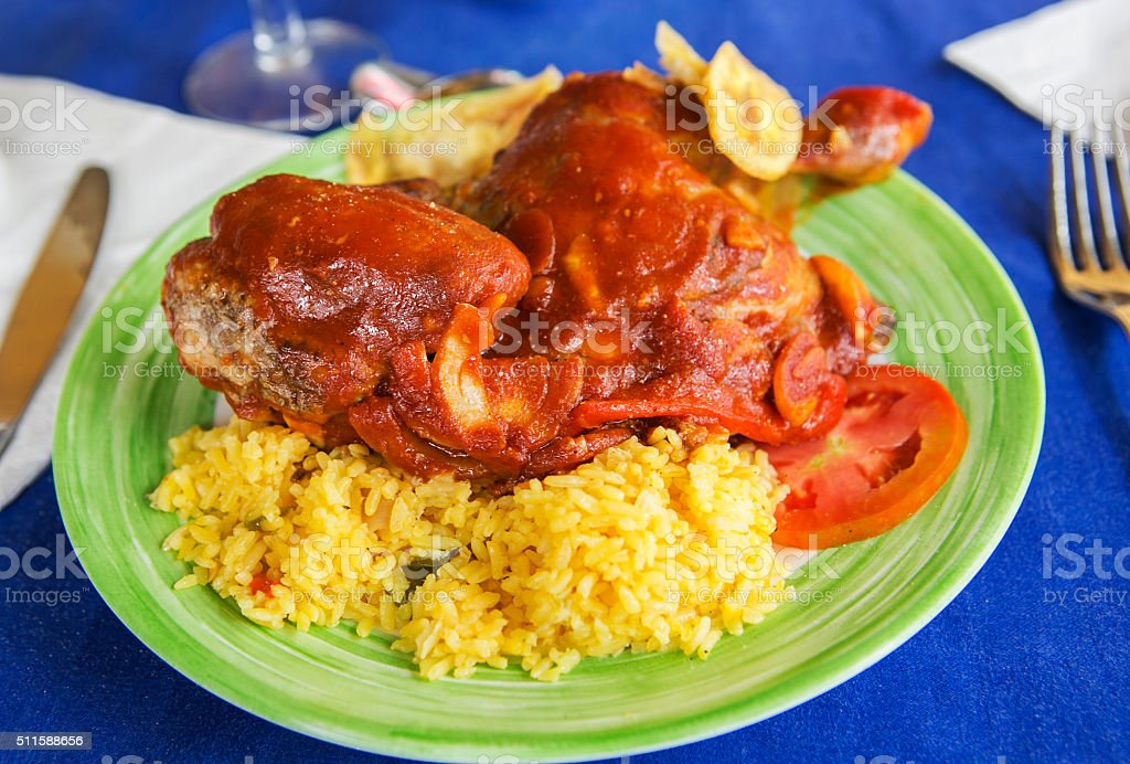 traditional chicken and fried banana plate at trinidad cuba stock photo