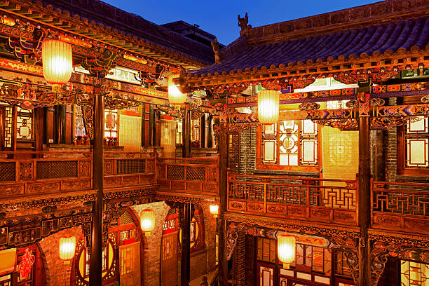 Traditional Chinese courtyard in Pingyao, China stock photo