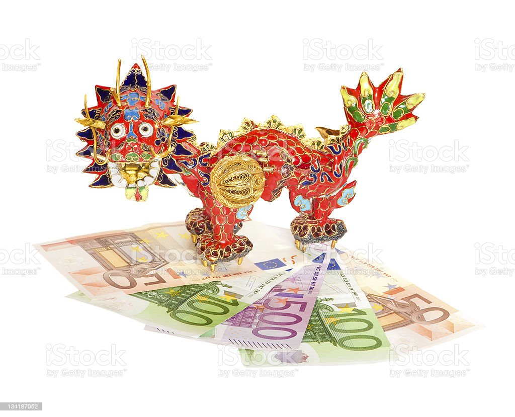 Traditional Chinese dragon on euro banknotes isolated. royalty-free stock photo