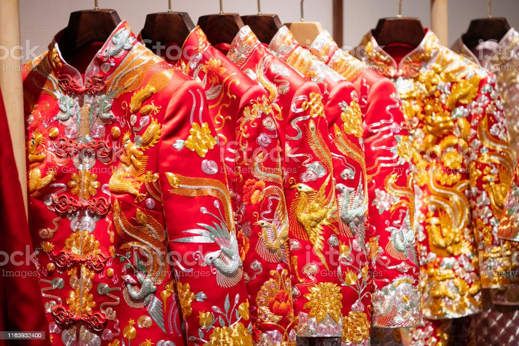 Traditional Chinese Embroidered Wedding Dress Jacket Stock Photo Download Image Now