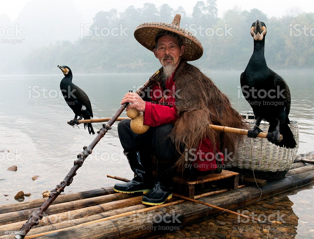 Traditional Chinese Fisherman royalty-free stock photo