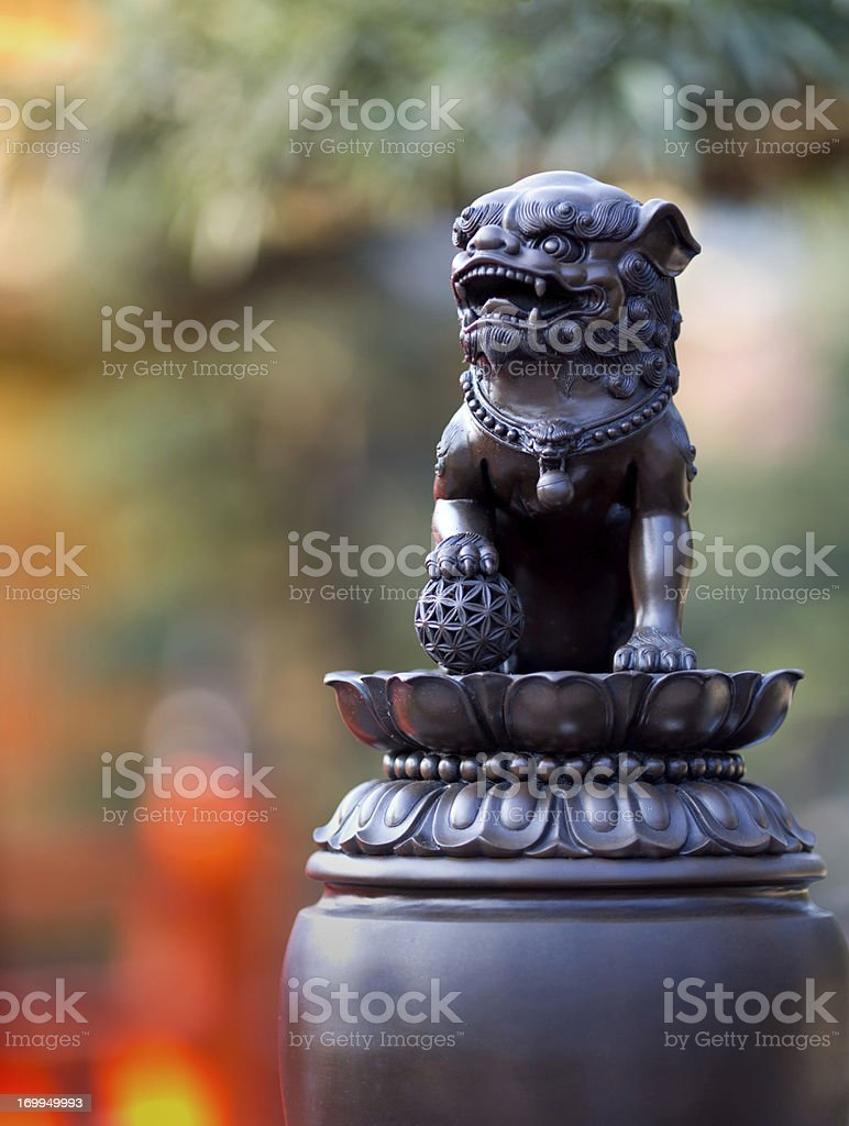 Traditional Chinese Foo Dog guardian lion stock photo