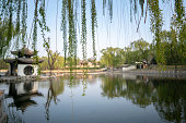 Lake, bridge and pavilion in a public park of Beijing