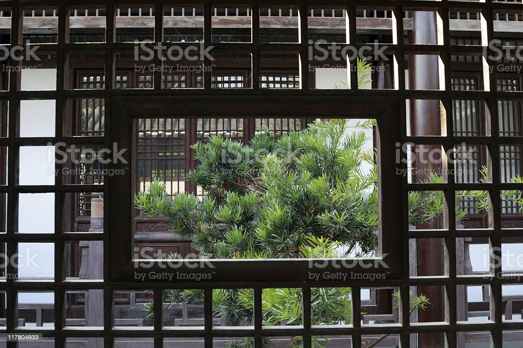 Traditional Chinese Garden Windows royalty-free stock photo