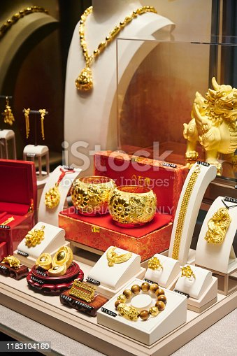 Hong Kong, April 20, 2019: traditional chinese jewelry in a shop window located in Tsim Sha Tsui.