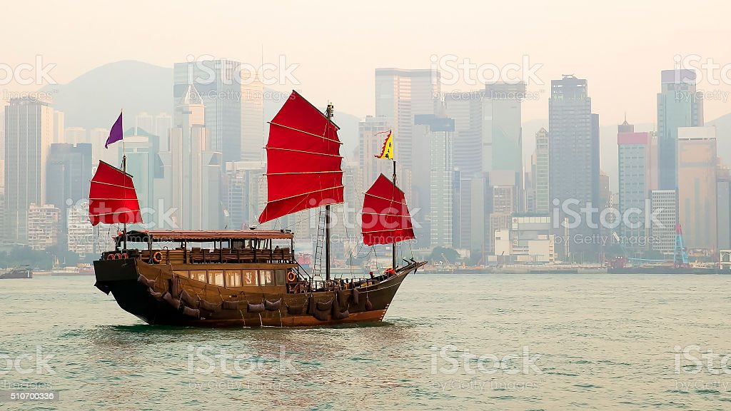 Traditional Chinese Junkboat Sailing stock photo