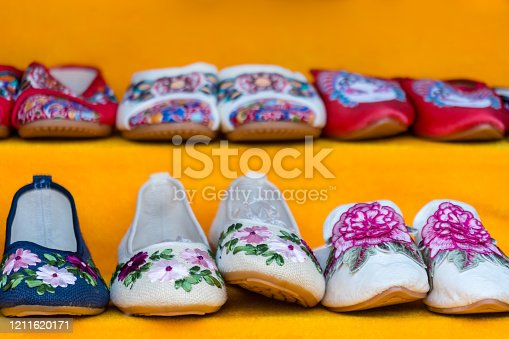 istock Traditional Chinese ladies shoes for sale 1211620171