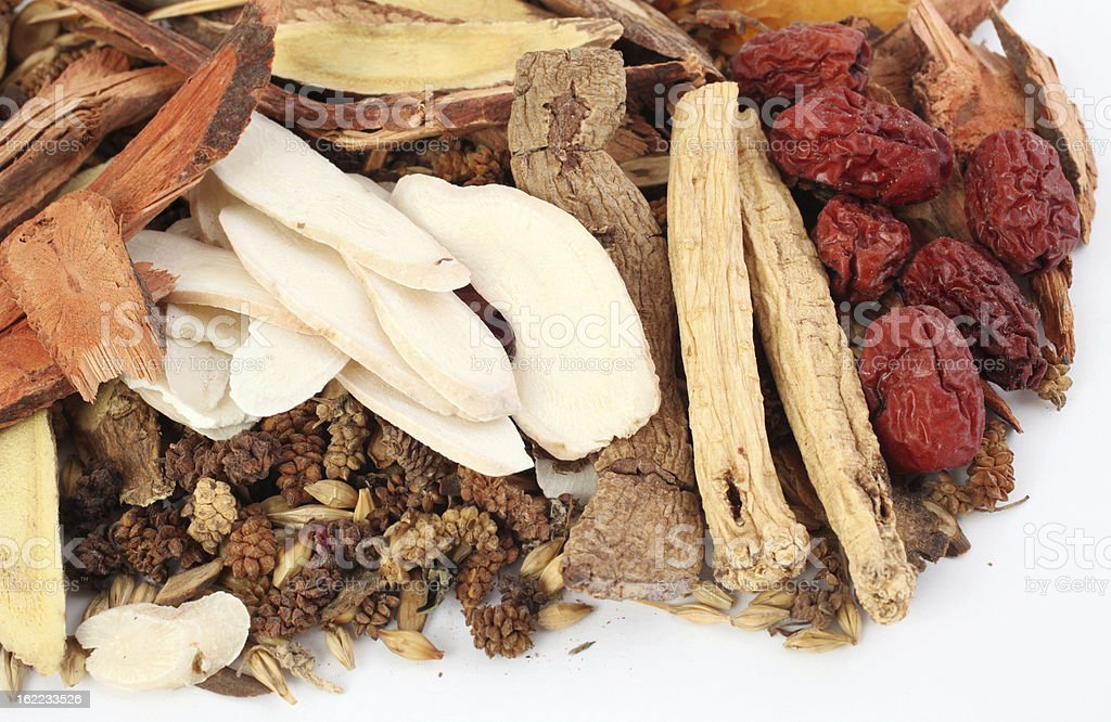Traditional Chinese medicinal herbs stock photo
