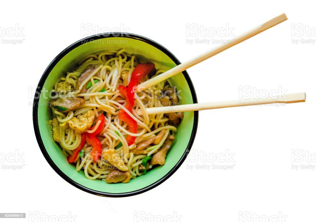 Baguettes de légumes wok nouilles chinoises traditionnelles - Photo