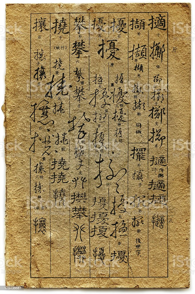 Traditional Chinese old calligraphy dictionary ancient stock photo