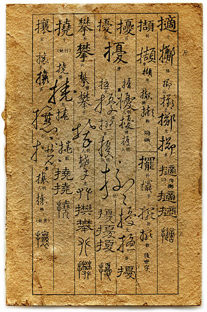 traditional chinese old calligraphy dictionary ancient - chinese writing 個照片及圖片檔