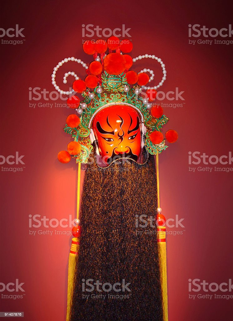 Traditional Chinese Opera Mask on red background royalty-free stock photo