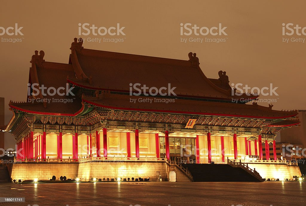 Traditional Chinese Palace Architecture at Night royalty-free stock photo