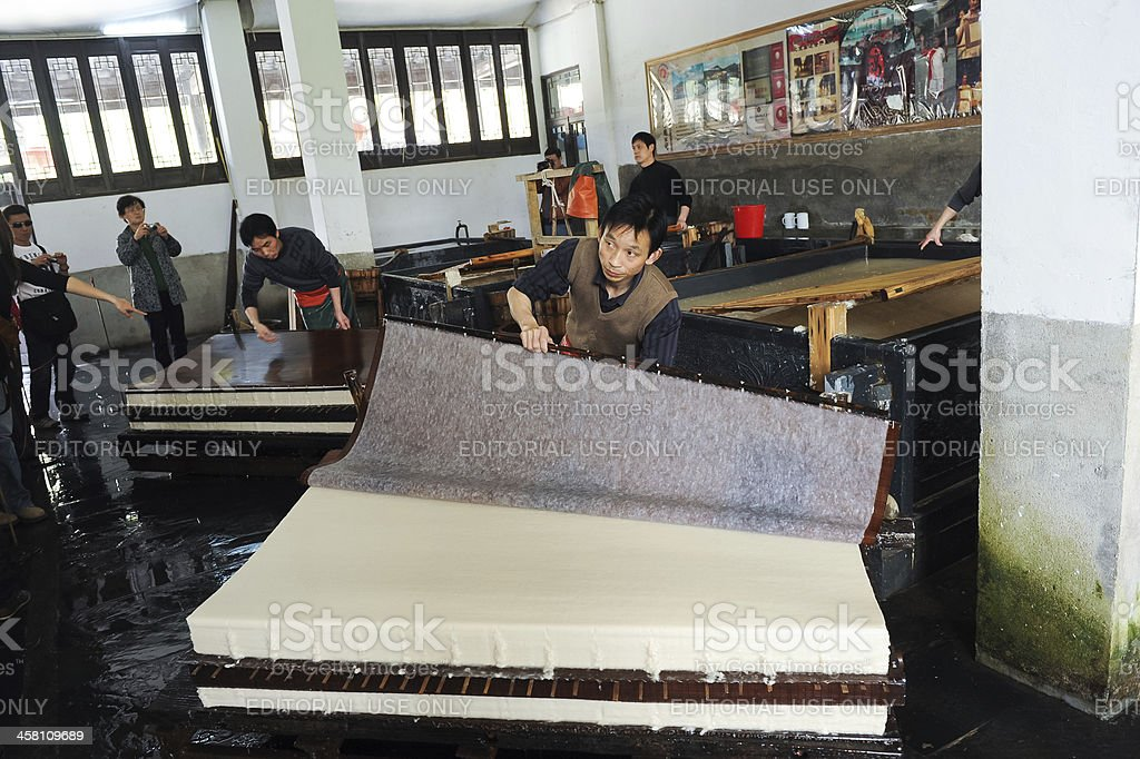 Traditional Chinese papermaking stock photo