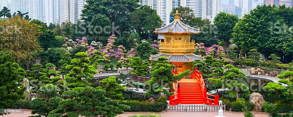 Traditional chinese pavilion in public Nan Lian Garden stock photo