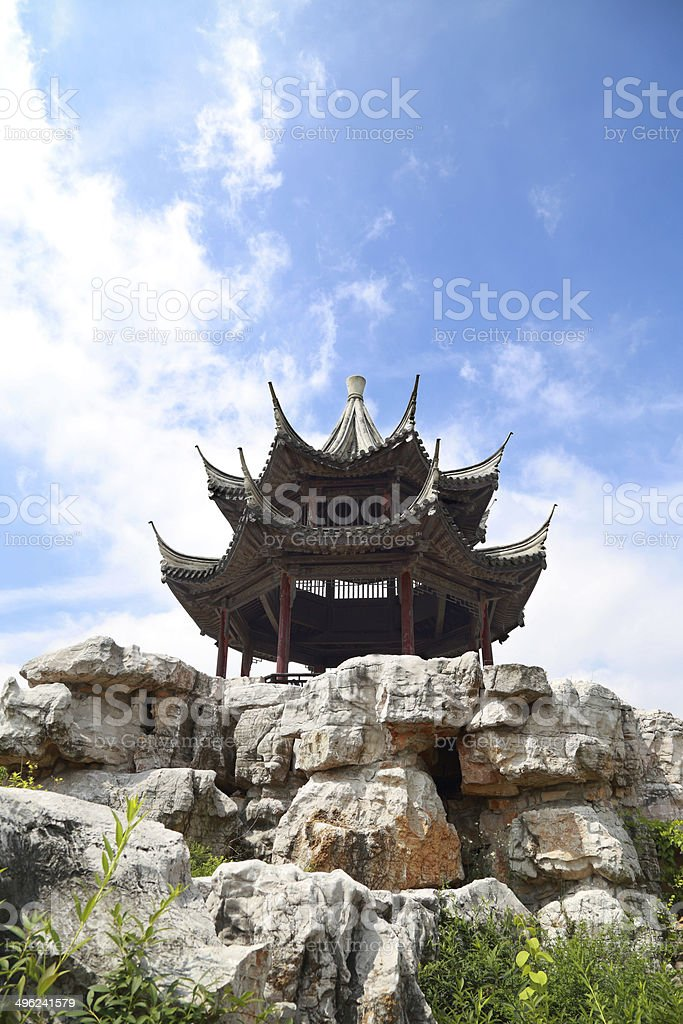 Traditional Chinese Pavilion on the mountain royalty-free stock photo