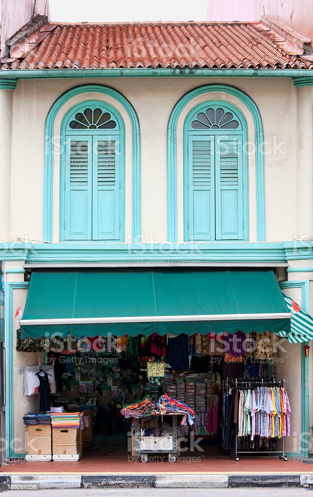 Traditional Chinese shophouse in China Town, Singapore. royalty-free stock photo