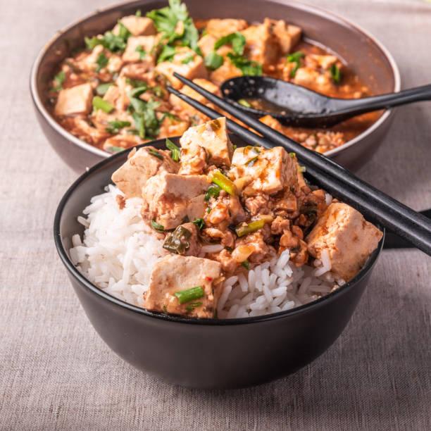 Culinária chinesa tradicional de Sichuan-uma bacia de arroz com tofu do Mapo em um fundo rústico - foto de acervo