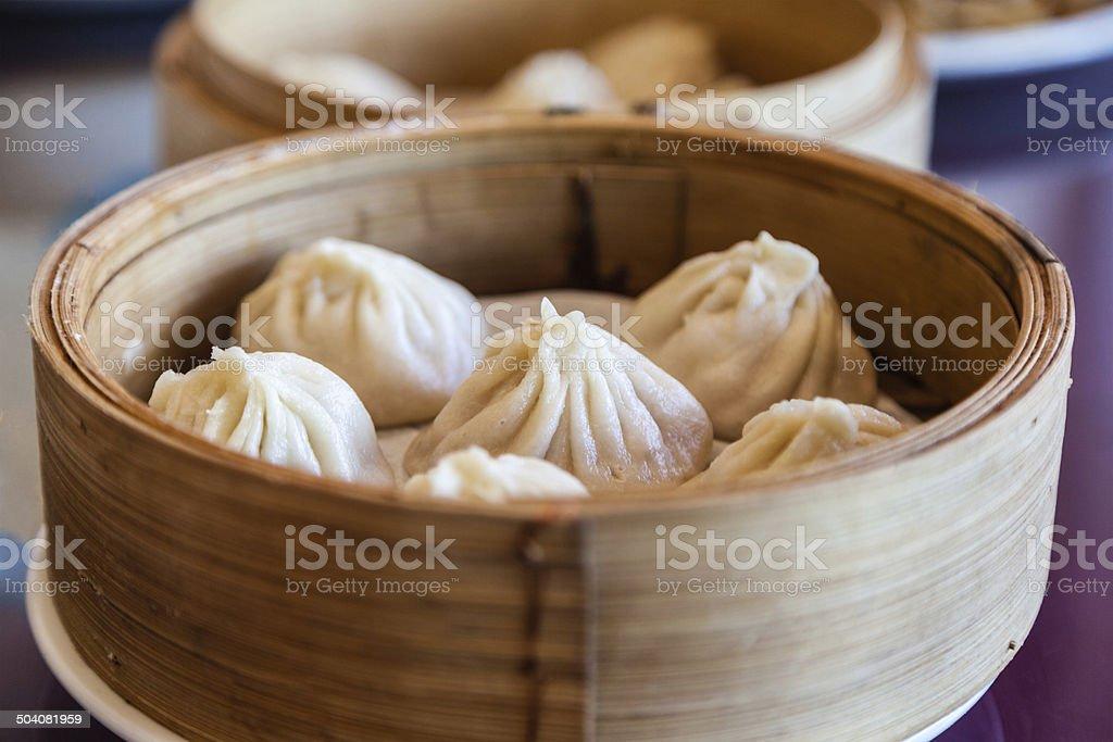 Traditional Chinese Soup-Filled Pork Dumpling Xiao Long Bao stock photo