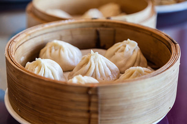 Traditional Chinese Soup-Filled Pork Dumpling Xiao Long Bao stock photo
