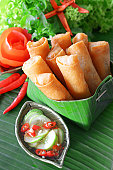 Crispy Chinese Traditional Spring rolls food on set