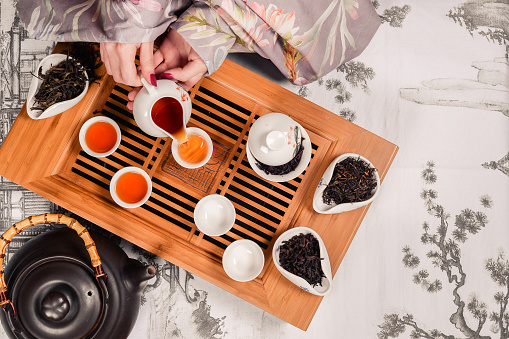 Traditional chinese tea ceremony accessories pair