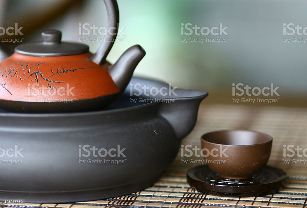 Traditional Chinese Teapot Set with Cup stock photo