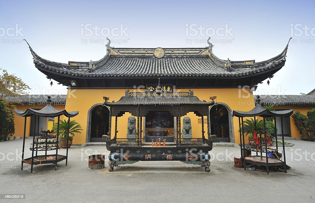 Traditional Chinese temple building stock photo