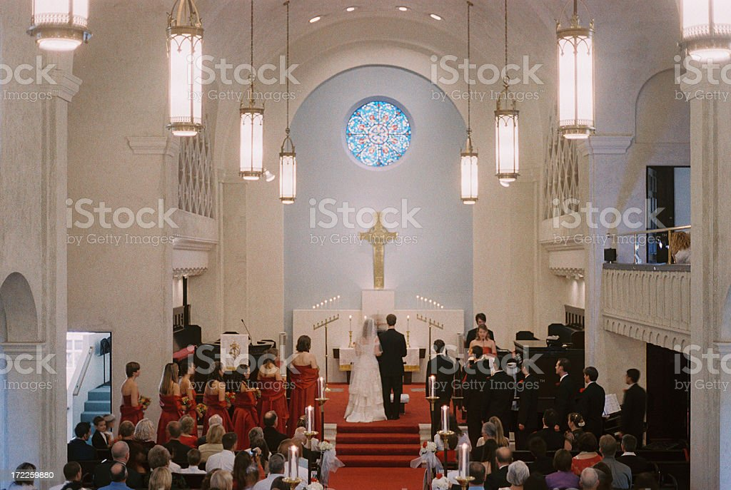 traditional Christian wedding ceremony in a church royalty-free stock photo
