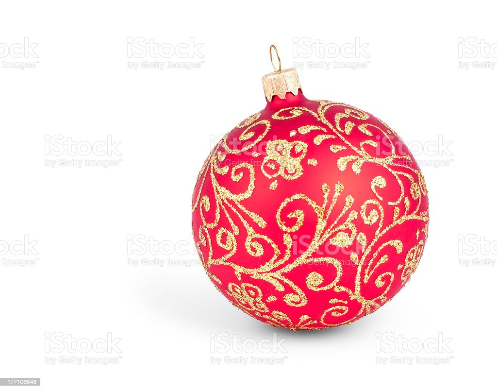 Traditional Christmas ball isolated on white royalty-free stock photo