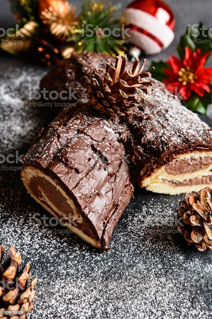 Traditional Christmas Buche de Noel cake stock photo