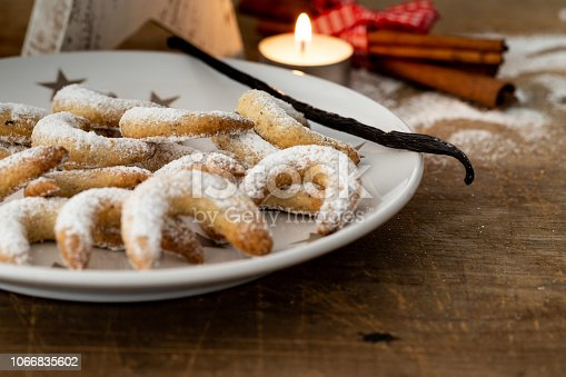istock Traditional Christmas Cookies vanilla crescents 1066835602