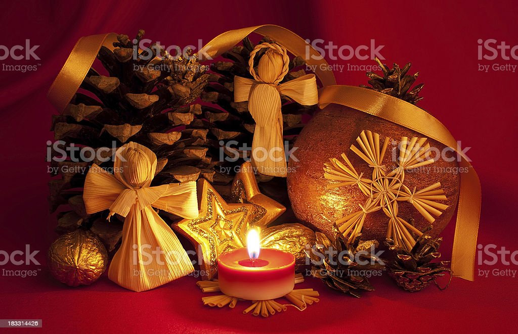 Traditional Christmas decoration with red background stock photo
