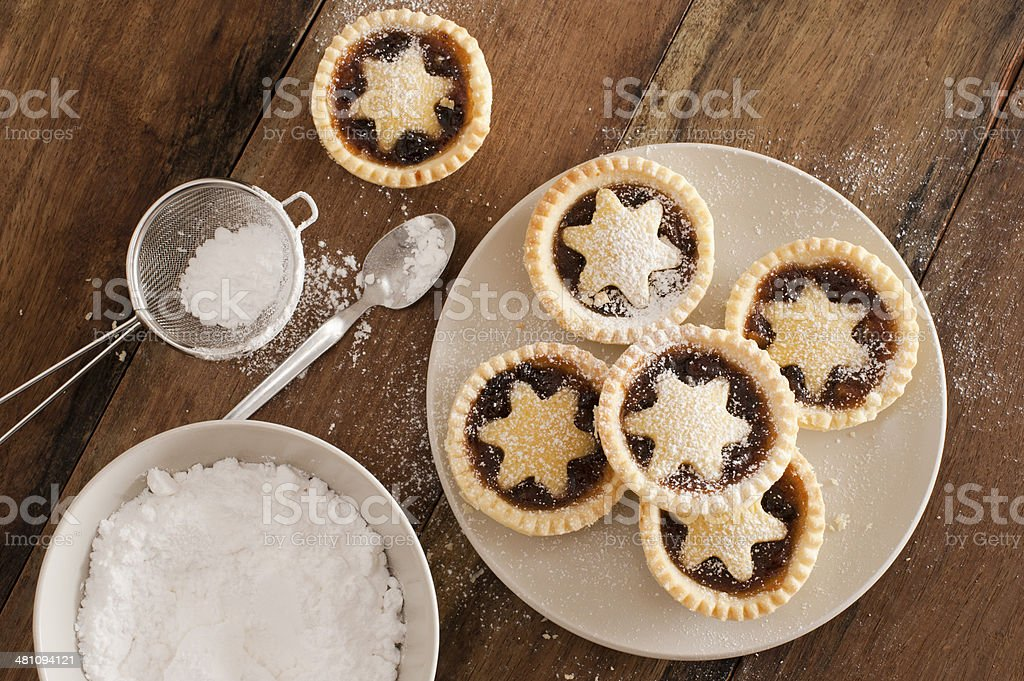 Traditional Christmas fruit mince pies stock photo