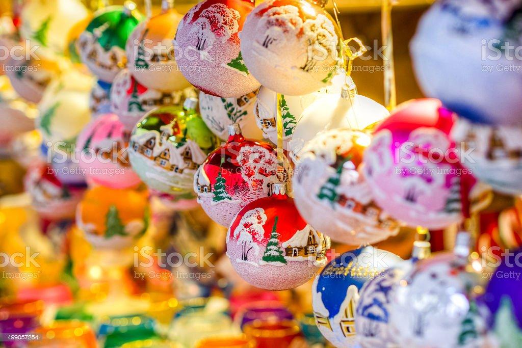 traditional christmas market decoration, kiosk full of decorated balls stock photo