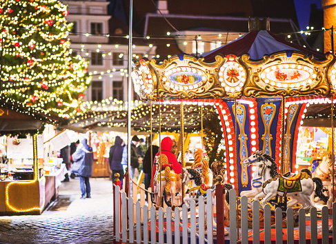 Traditional Christmas market fair in Europe