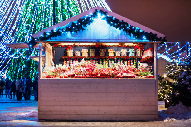 Traditional Christmas market fair in Europe stock photo