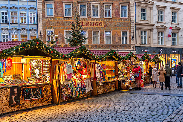 Traditional Christmas market in Prague. stock photo