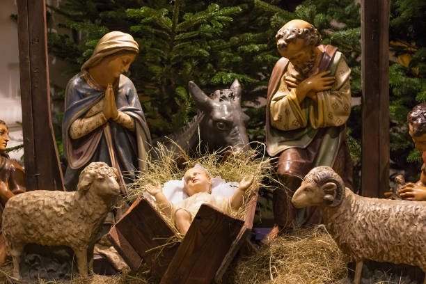 Traditional Christmas nativity scene. At polish roman catholic church. trough stock pictures, royalty-free photos & images