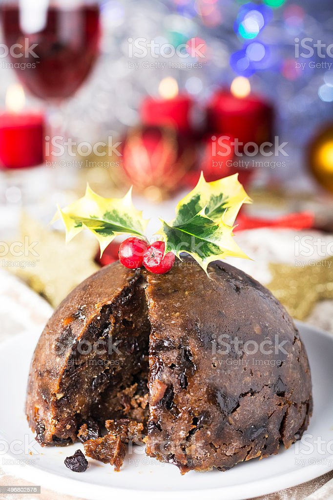 Traditional Christmas pudding stock photo