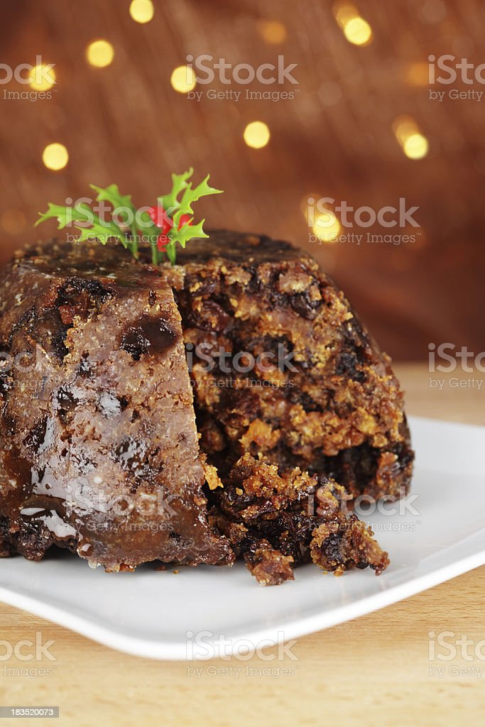 Traditional Christmas Pudding with Holly royalty-free stock photo